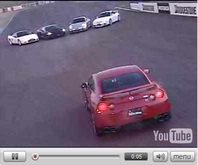 Vidéo : Nissan GT-R vs Lamborghini Gallardo SL vs Porsche 911 turbo vs Porsche 911 GT-3 vs Honda NSX-R (ouf)