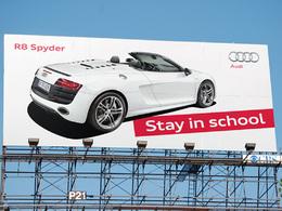 Pub : restez à l'école, vous pourrez vous payer une Audi R8 Spyder