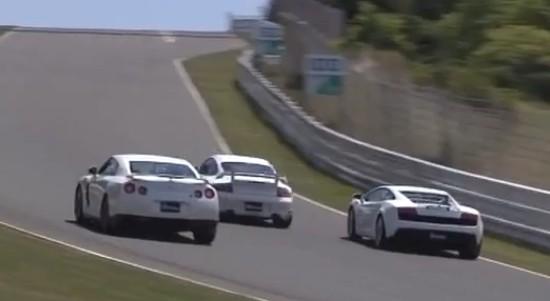 Réglement de compte sur la piste : Porsche Manthey M700 vs Nissan GTR vs Gallardo LP560-4 vs Ferrari F460GT vs Lotus Exige Cup
