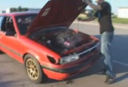 [Vidéo] 520 chevaux, c'était trop pour la transmission de cette pauvre Mitsubishi Colt…