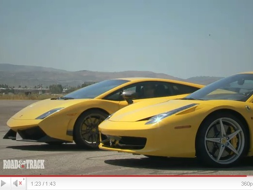 Road&Track : Ferrari 458 Italia vs Lamborghini Gallardo Superleggera